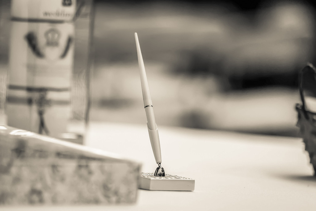guest book pen on table for special occasion