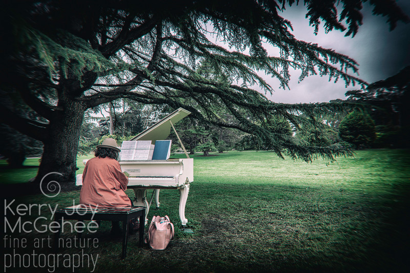 Lady Piano Player in Red
