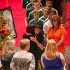 Dylan Buell | dylanphotog@gmail.com | @dylanphotog<br /> Members of the Western Hills High School boy's soccer team wait to embrace Bradley's mother Julie Camic during the funeral services.