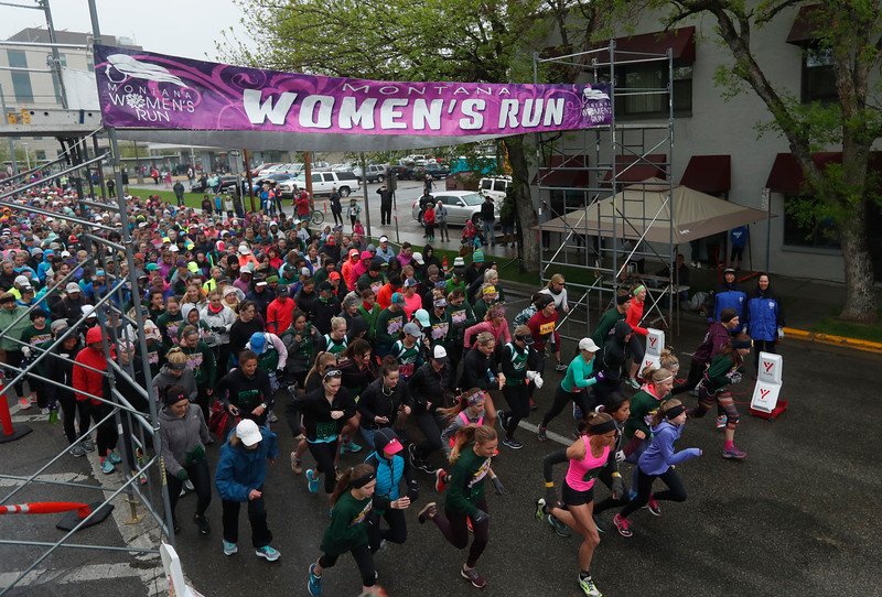 Participants begin the two mile course during the annual Montana Women's Run in Billings on May 12, 2018.
