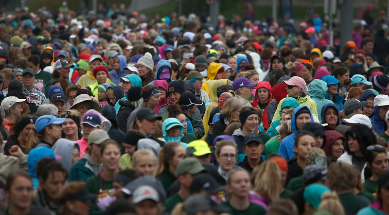 Participants wait for the start of the five mile course during the annual Montana Women's Run in Billings on May 12, 2018.