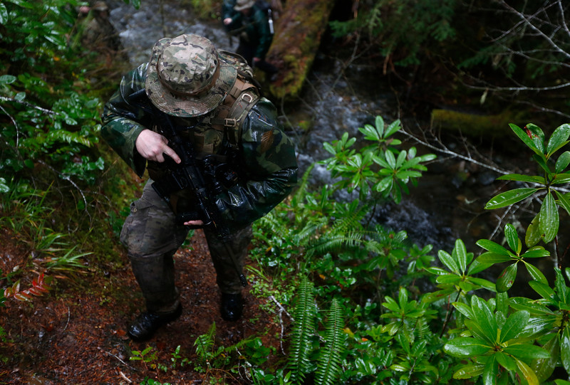 A member of law enforcement hikes through the brush during a Coos County Sheriff's Office operation to gather intelligence on a known illegal marijuana grow on U.S. Forest Service land in southern Coos County on Wednesday, Nov. 15, 2017.