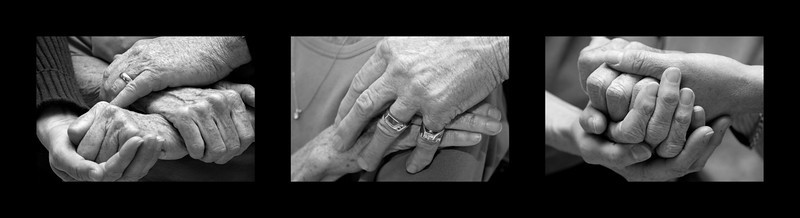 Hands show amazing emotions, support and love. In this photo L-R: A woman with her sister and brother, with her husband, with her two daughters