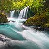 """RAGING SPIRIT""Columbia GorgeThe fierce flow and aquamarine water of Spirit Falls on the Washington side of the Columbia Gorge. © Chris Moore - Exploring Light PhotographyPURCHASE A PRINT"