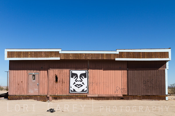 OBEY Giant image on the side of an abandoned building in the Mojave desert, 24 miles east of Barstow