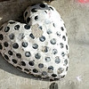 Black and white polka dot heart concrete heart, artist unknown. DTLA Arts District