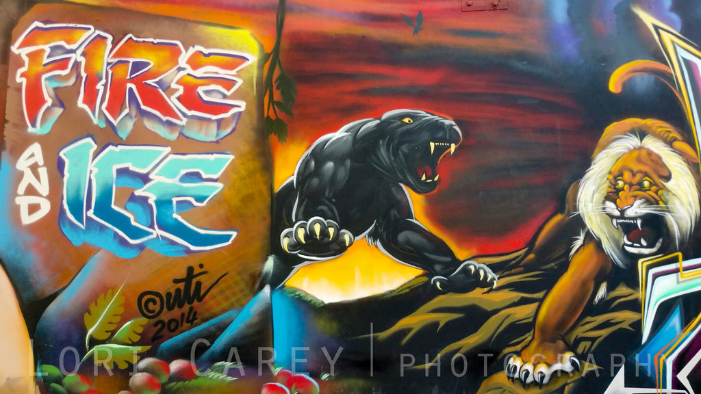 Fire and Ice mural tribute to Frank Frazetta by UIT Crew, DTLA Arts District