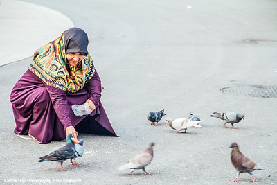 Feeding pigeons, Placa de Catalunya, Barcelona, Spain