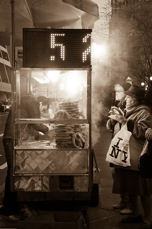 Steamy pretzel stand in New York City, NY