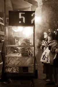 Steamy pretzel stand in New York City, NY