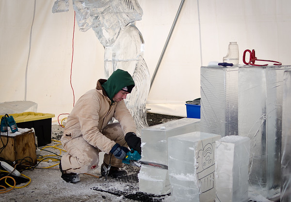 Ice carving at Lyman Orchards Winterfest 2011