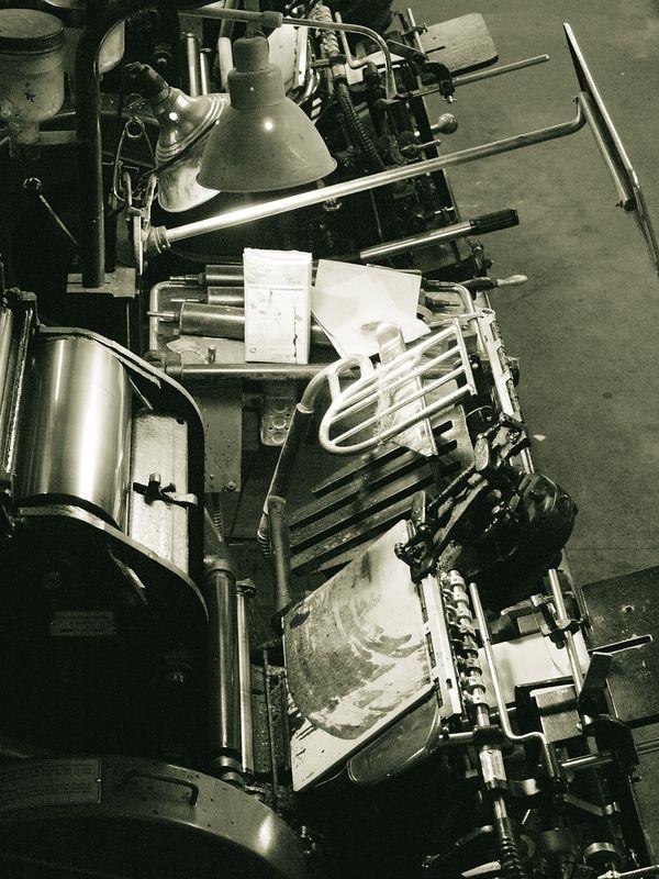 Detail view of a Heidelberg press.