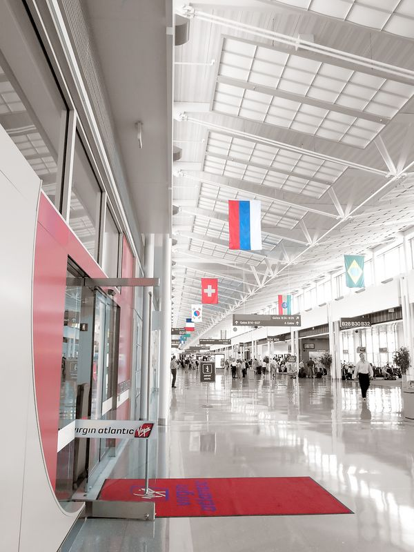 The entrance to the Virgin Airways lounge for travelors in terminal B at Dulles International Airport.