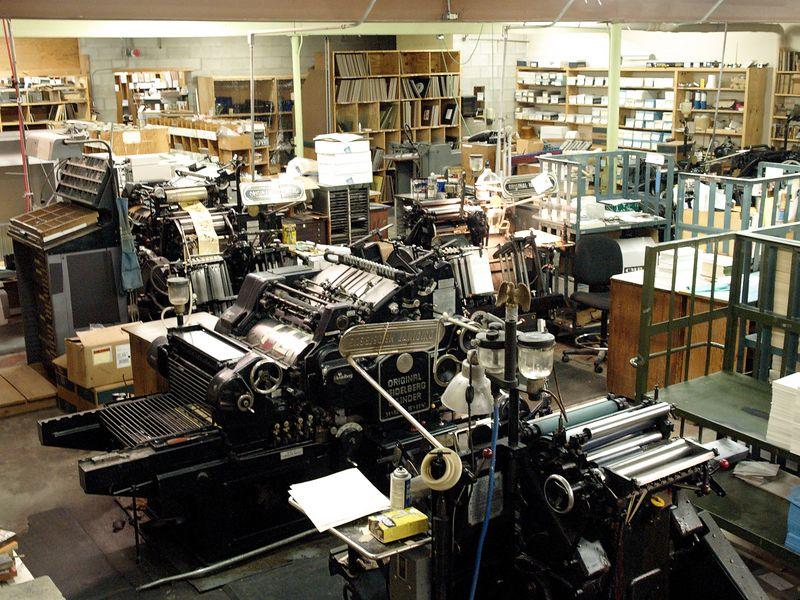 Old Heidelberg presses in an art printing shop.
