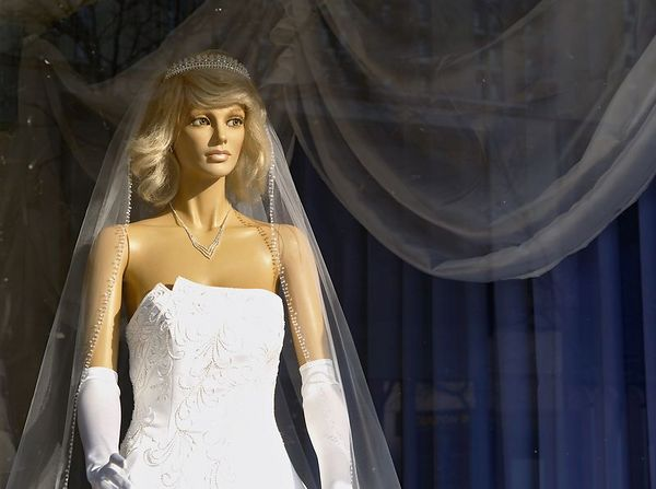 """<font size=3><div align =""""center"""">Ideal</div>      In the bridal shop window, this must be someone's ideal.  She's looking for something, but I'm not sure what.</font>"""