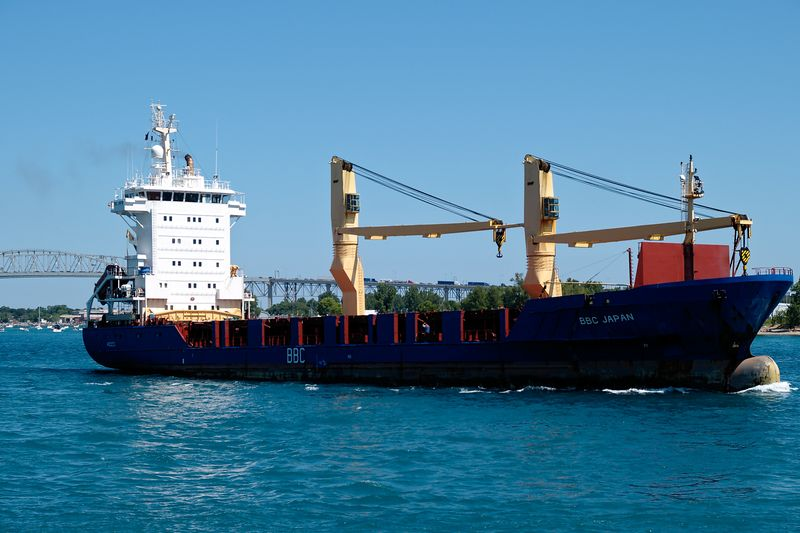 Container ship BBC Japan heads down the St. Clair River.