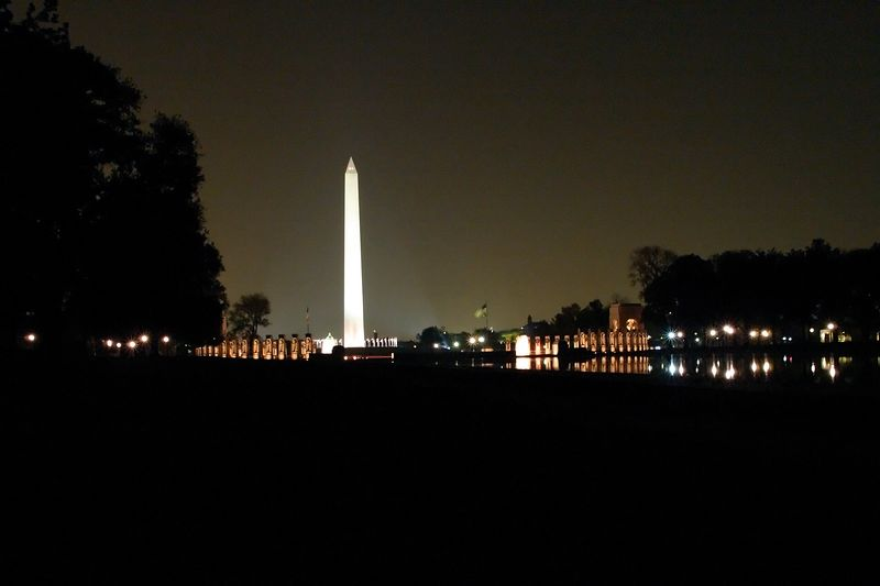 The Washington Monument as seen looking back from the Reflecting Pool in the Mall in Washington, DC.