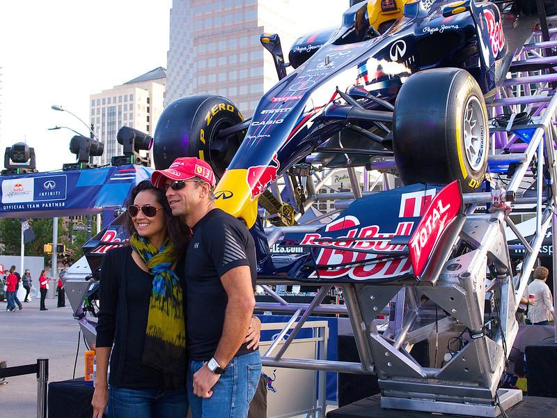 Posing with the Red Bull Racer, Austin Fan Fest 2012 - Austin, Texas