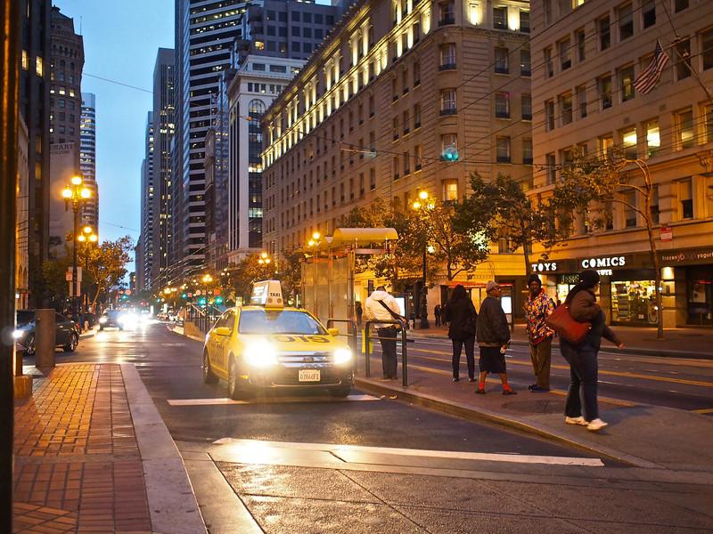 A Taxi on Market Street - San Francisco. California