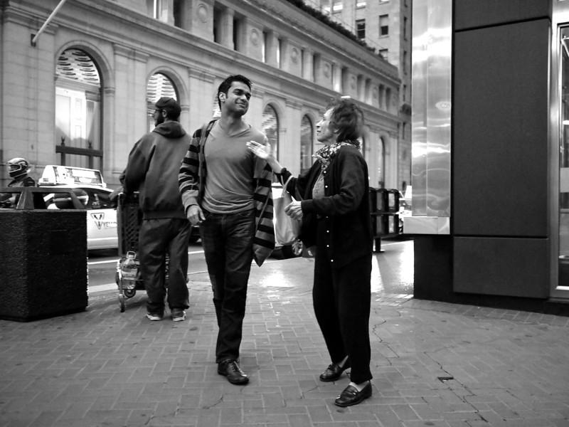 The Conversation, Market Street - San Francisco, California  (black and white)