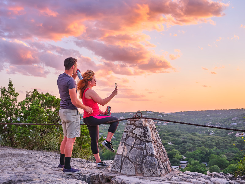 Admiring the Mount Bonnell Sunset - Austin, Texas