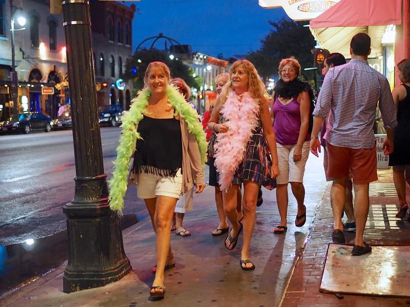 Ladies with Boas, 6th Street - Austin, Texas