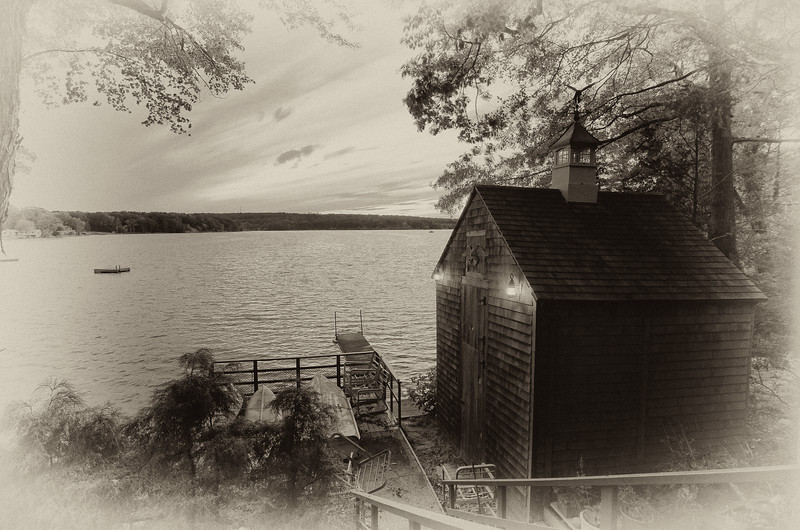 HDR of an ice house at a lake in CT
