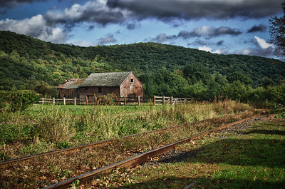 Winning photo for the 2011 Kelby Photowalk for the town of Kent, CT.  HDR of an old barn near train tracks.