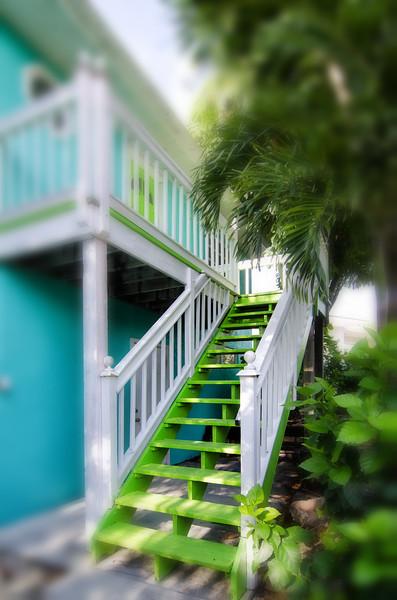 Aqua and lime green house, Marathon, FL Keys