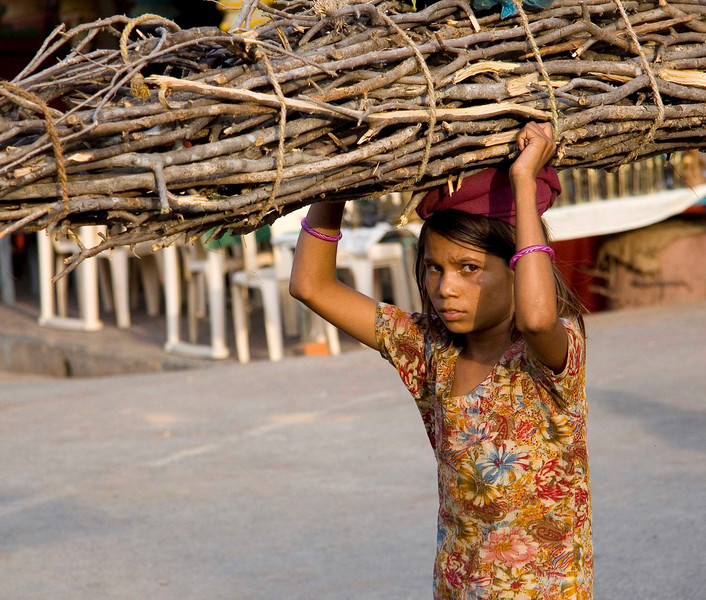 Girl with firewood, Orcha,India