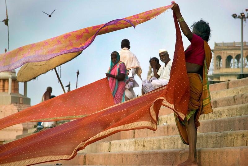 Drying saris, Varanasi