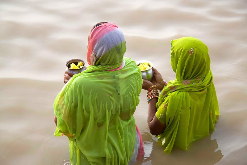 Morning offerings to mother Ganga, Varanasi