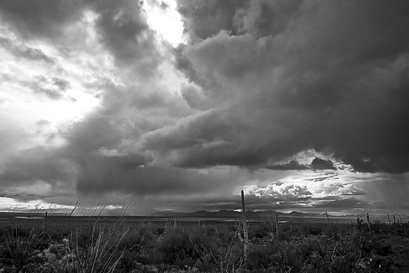 Storm clouds, west of Tucson Mountains b+w
