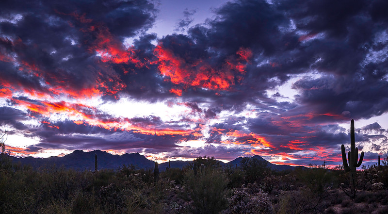 Sunset over Tucson Mountains 1