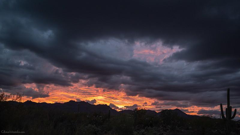 Sunset over Tucson Mountains 3