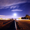 Moon rise over the tracks in Tracy California - © Simpson Brothers Photography