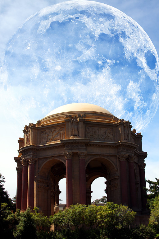 Taken at the Palace of Fine Arts, full moon added for fun. - © Simpson Brothers Photography