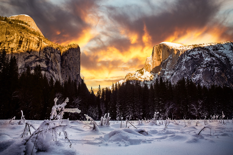 Half Dome Under Fiery Skies