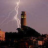 Lightning strike behind Coit Tower in San Francisco California - © Simpson Brothers Photography