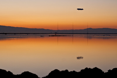 Airship heading home over the San Francisco Bay.