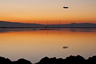 Airship heading home over the San Francisco Bay.