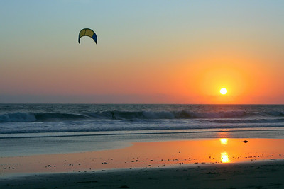 Kite surfer at the end of the day. San Mateo coast.
