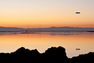 Airship heading home after sunset, San Francisco Bay.