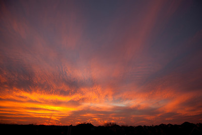 2-14-11  I was very happy to see colorful sunset in Frisco, Texas. What a show! Great way to end Valentines Day.