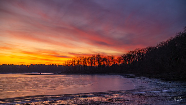 Christmas Sunset Over Shenango Reservoir #3
