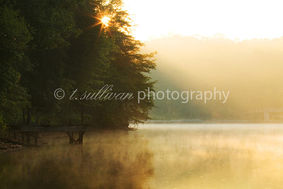 The sun bursts over the tree line one early morning at Smith Mountain Lake.