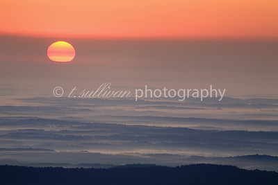 A orb-like sun rises through heavy mist and fog above the Shenandoah Valley.