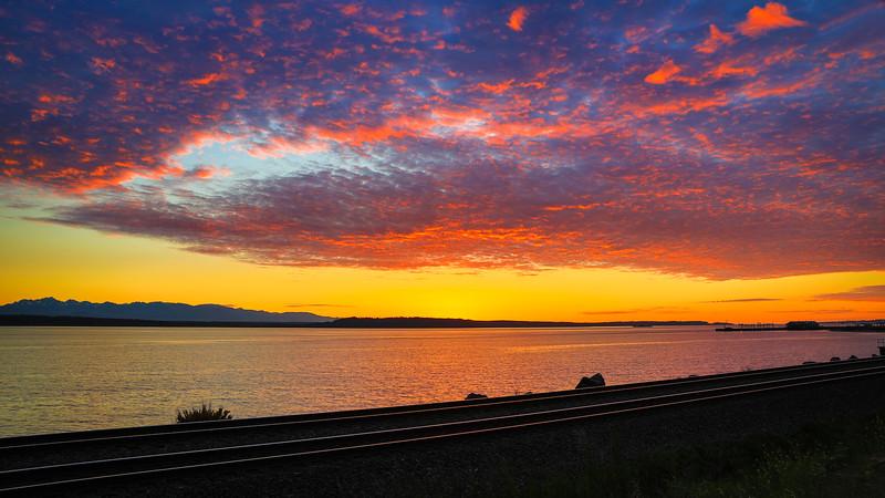 Railroad Tracks at Sunset