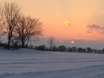 Sunset Over Frozen Fields