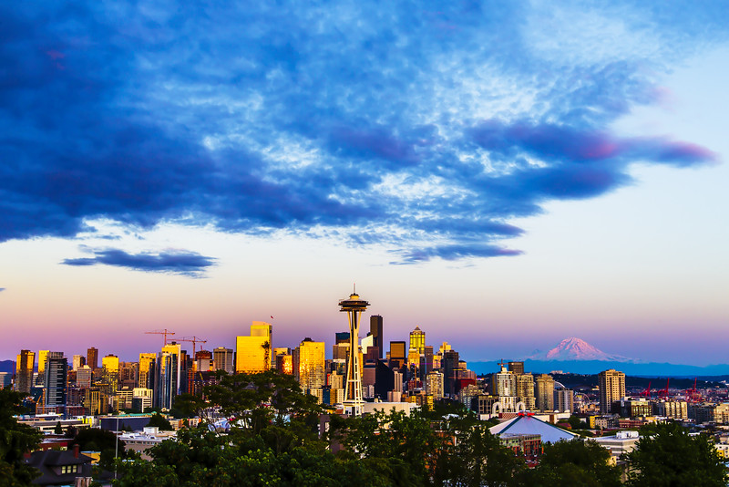 Pink Sunset - Seattle Skyline
